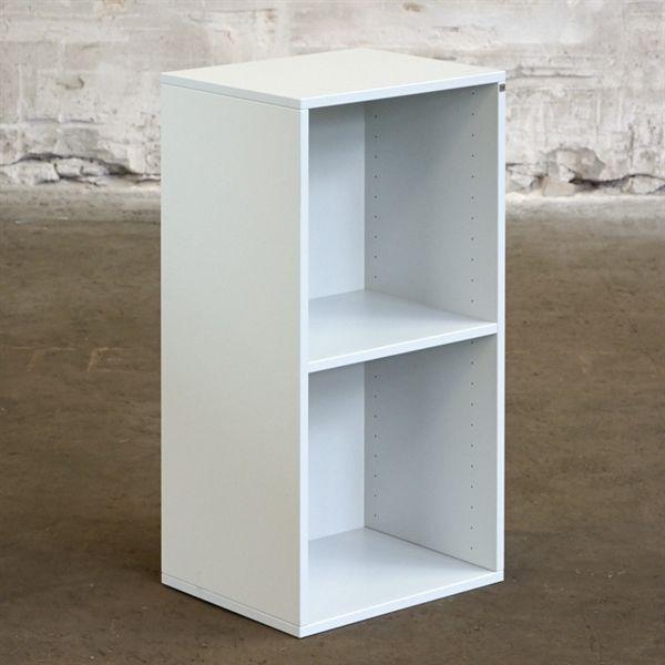 Reol. Cube Design. Grå laminat med 2 rum og væghængt.
