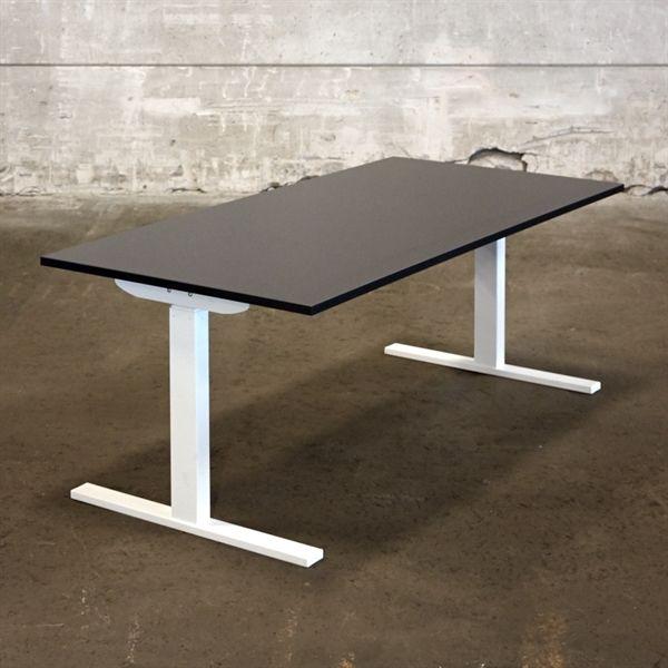 Image of   El hæve sænkebord. Ny sort plade på hvidt stel. Mål: 160 x 80 cm. - NYT