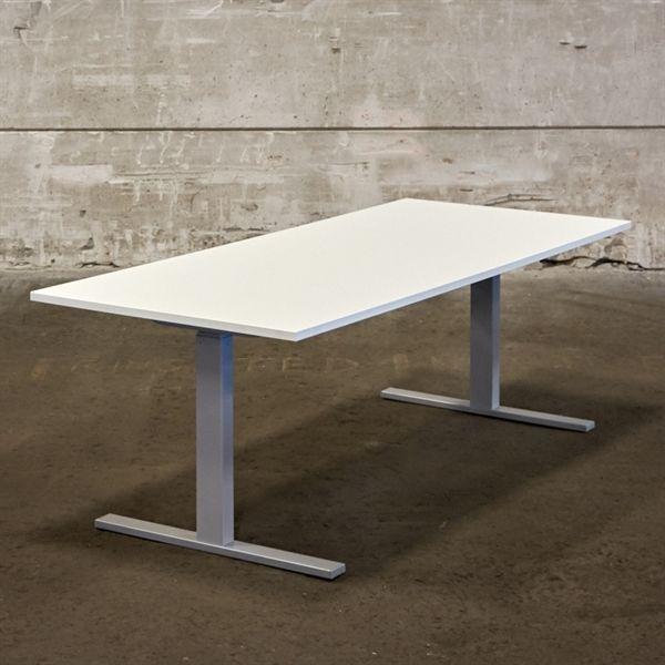 Image of   El hæve sænkebord. Ny hvid plade på gråt stel. Mål: 180 x 80 cm. NYT.