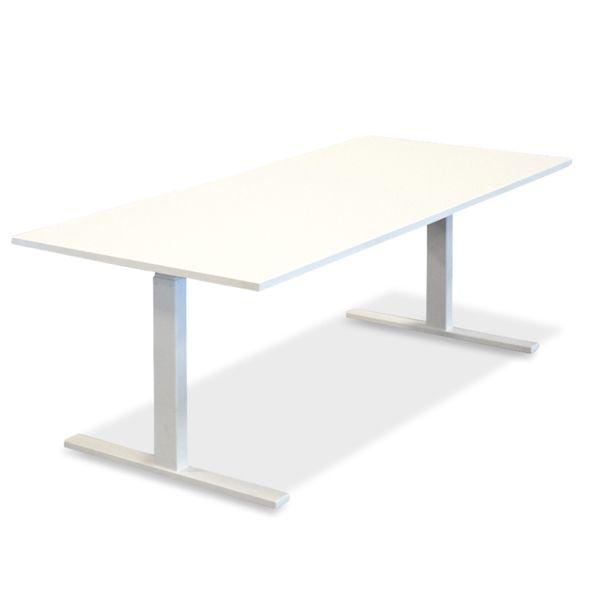 El hæve sænkebord. Ny hvid plade på hvidt stel. Mål: 180 x 80. NYT.