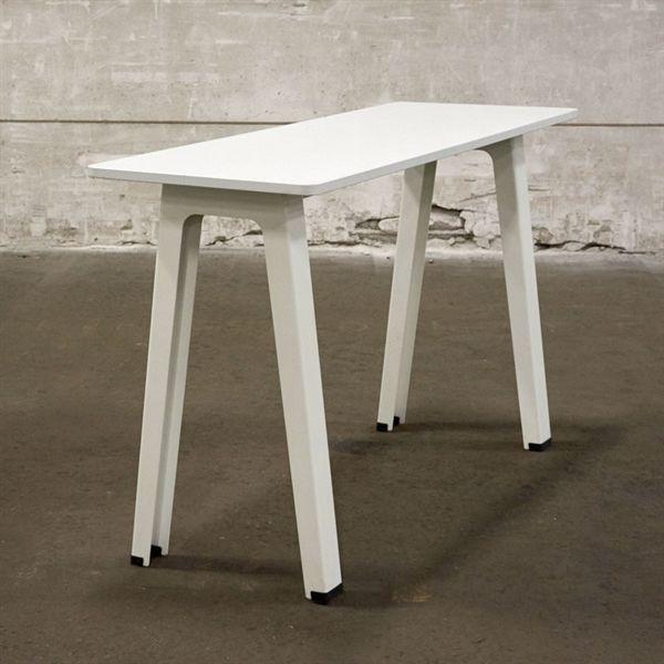 Image of   Højbord. Hvid laminat på hvide metalben.