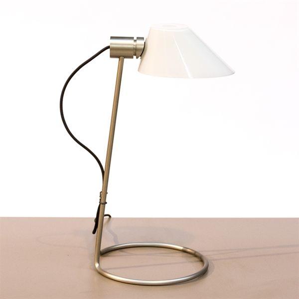 Image of   Bordlampe. Lightyears. Børstetstål med hvid glasskærm. Sort ledning.