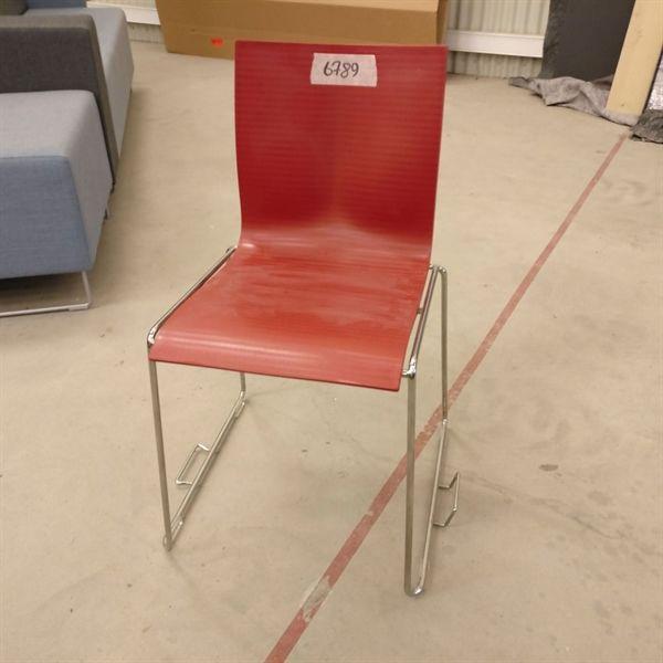 Konferencestol, rødt plastic