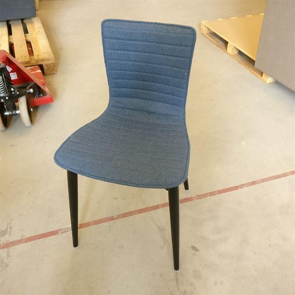 Labofa konferencestol, blåt polster, sorte massive ben