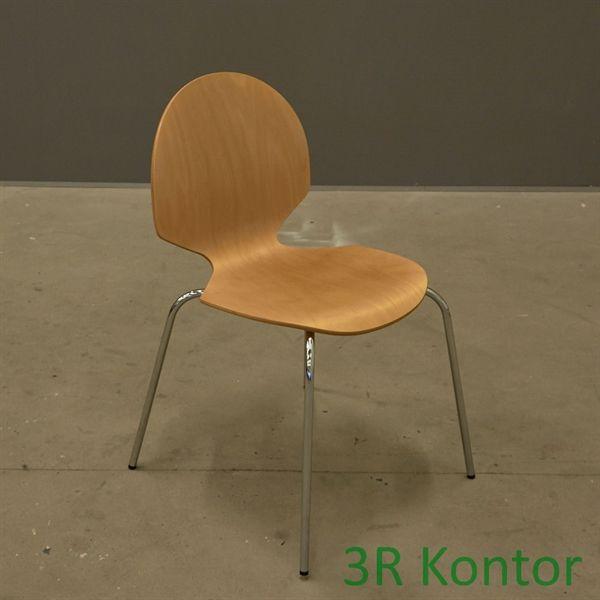 Image of   Kantinestol. Formstøbt krydsfiner, ahorn, krom stel