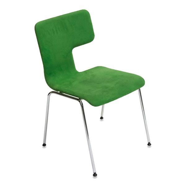 Image of   Konferencestol. Grøn med stel i chrome.