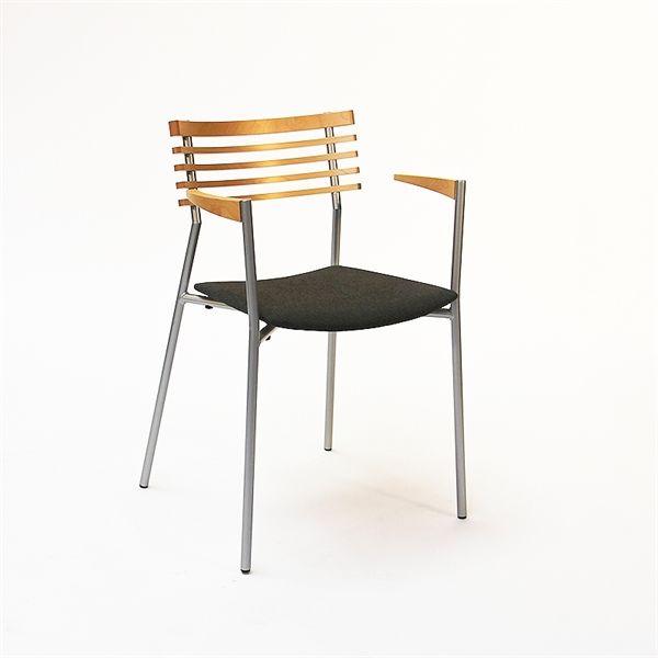 Konferencestol. Randers + Radius. Rail. I bøg, stål, gråt polster og med armlæn.