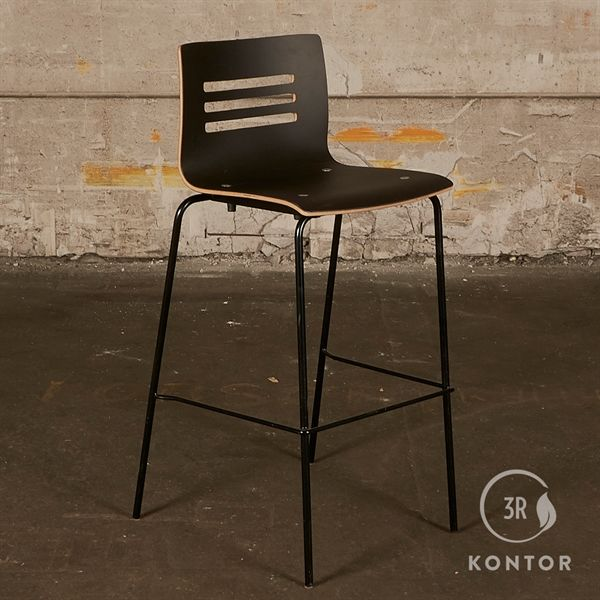 Image of   Barstol. Sort linoleum, trækant, høj ryg, sort stel.