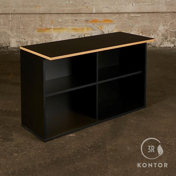Image of   Åben 4 rums reol. Sort med ekstra dyb sort nano topplade.