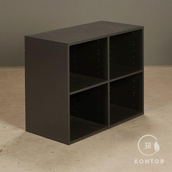 Image of   Åben reol i mørkegrå laminat med 4 åbne rum.