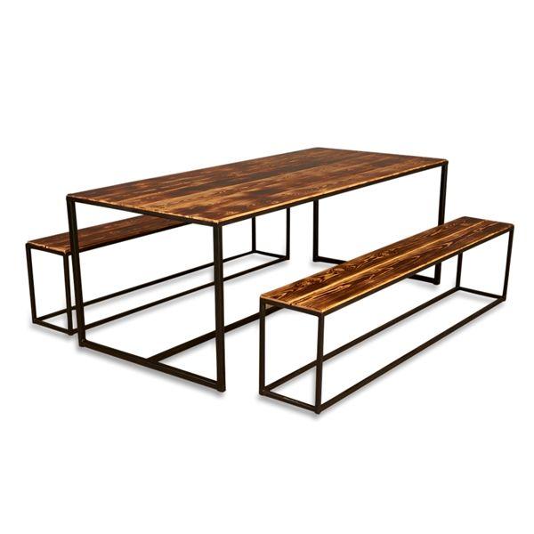 IW Table: Bord + bænke i brændt træ, sort stel