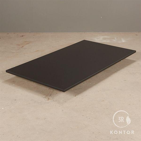 Bordplade i sort laminat med lige kanter - 140x80 - NY