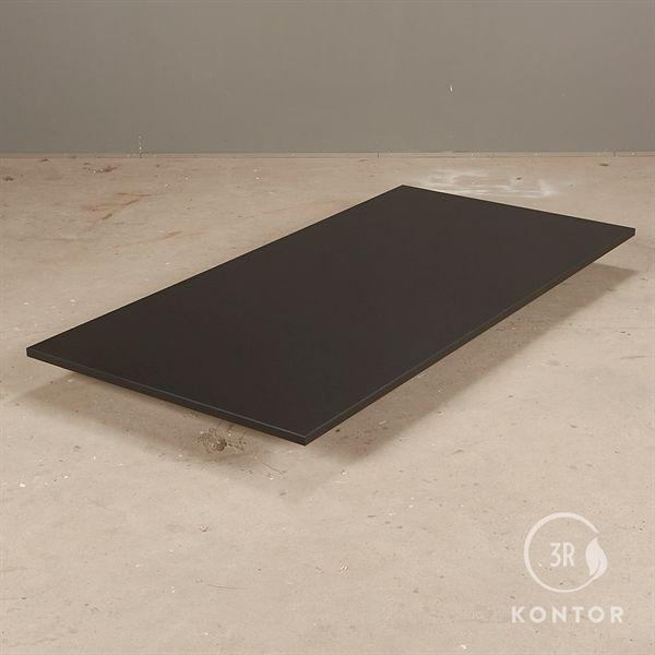Bordplade i sort laminat med lige kanter - 160x80 - NY