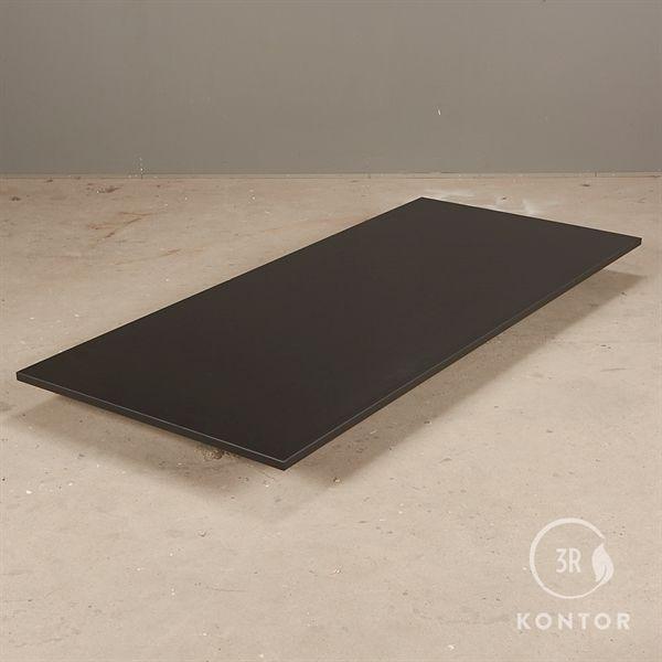 Bordplade i sort laminat med lige kanter - 180x80 - NY