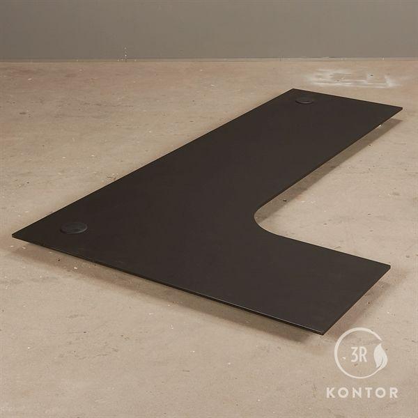 Image of   Bordplade i sort nano laminat, venstrebue. 200 x 120/60