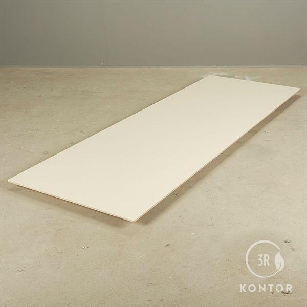 Bordplade. Sandfarvet linoleum, krydsfinerkant, rektangulær. 250x90