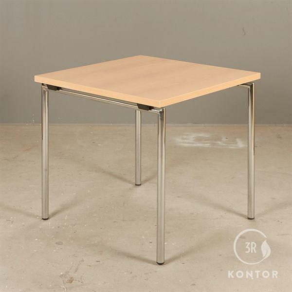 Brunner foldebord, bøg laminat på krom ben. 80x80