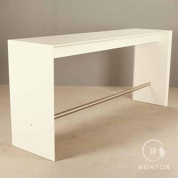 Image of   Café højbord i hvid laminat med metal afstiver. 240x60