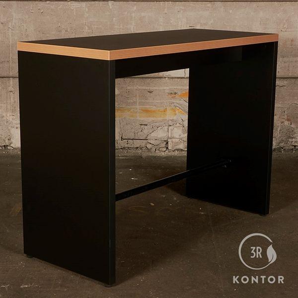 Image of   Café højbordd, sort linoleum, trækant - Højde: 109 cm