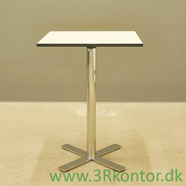 Image of   Café højbord. hvid laminat, krom søjle 80x80