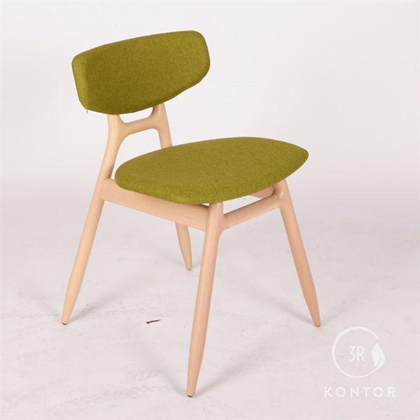 Image of   Capdell Sillala mødestol, grønt stof, træ understel.