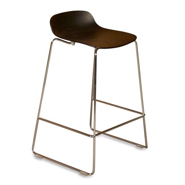 Image of   Duba B8 barstol, sort plastic top, krom stel. Højde: 65