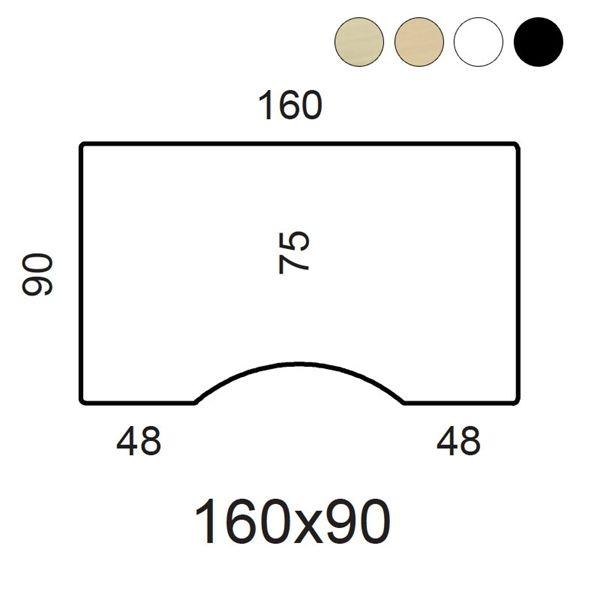 Bordplade. Med centerbue. Fås i ahorn finer, bøg finer, hvid laminat, sort laminat og sort linoleum.