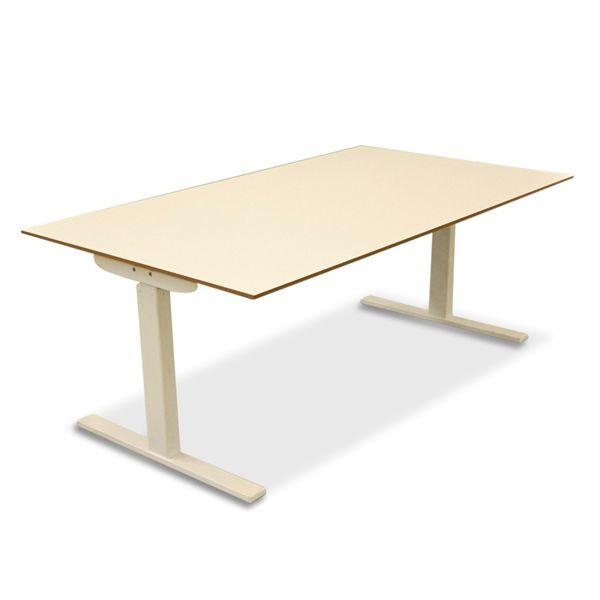 Image of   El hæve sænke bord. Hvid top, MDF kant, hvidt stel - 160x90