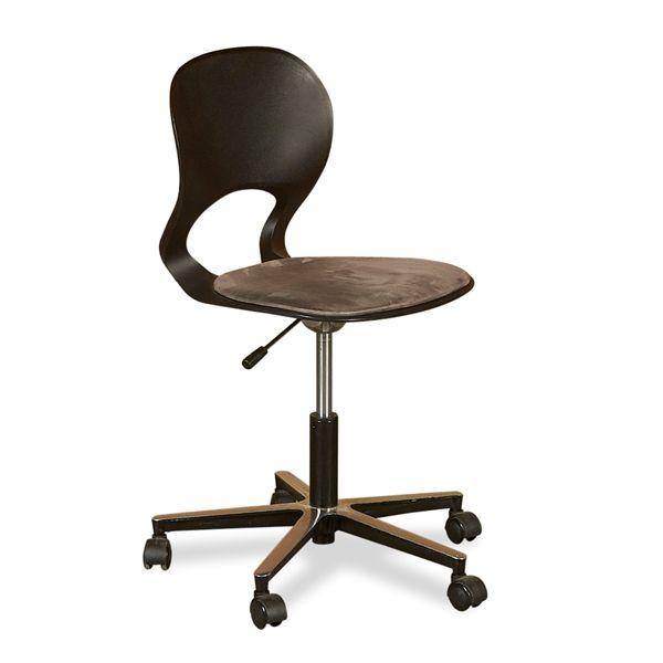 Image of   Ergomade kontorstol. Sort plastic, gråt polstret sæde