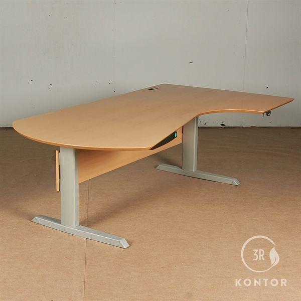 Image of   Hæve sænkebord. Bøg, centerbue. gråt stel - 200x110