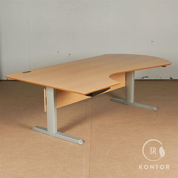 Image of   Hæve sænkebord. Bøg centerbue, gråt stel. 200x110