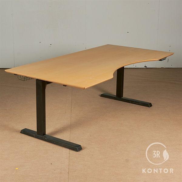 Image of   Hæve sænkebord. Bøg med centerbue. Sort stel. 190x95