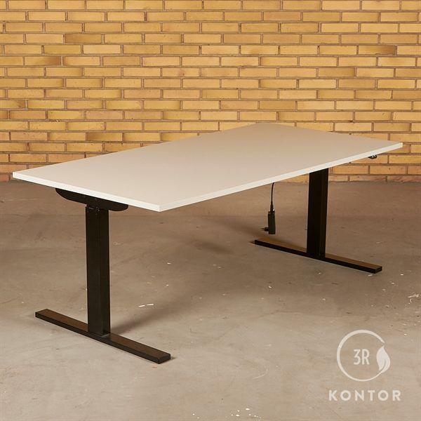Image of   Hæve sænkebord. Grå på sort stel. 160x80
