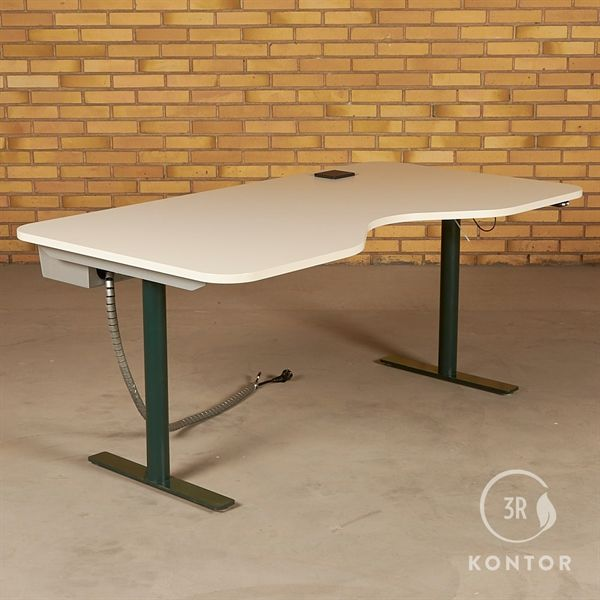 Hæve sænkebord. Hvid, centerbue, mørkegrønt stel. 165x90