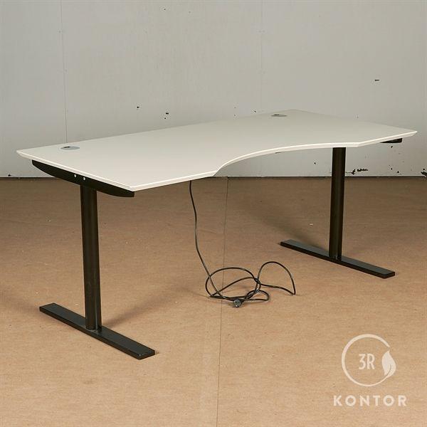 Image of   Hæve sænkebord. Hvid, centerbue, sort stel. 160x80