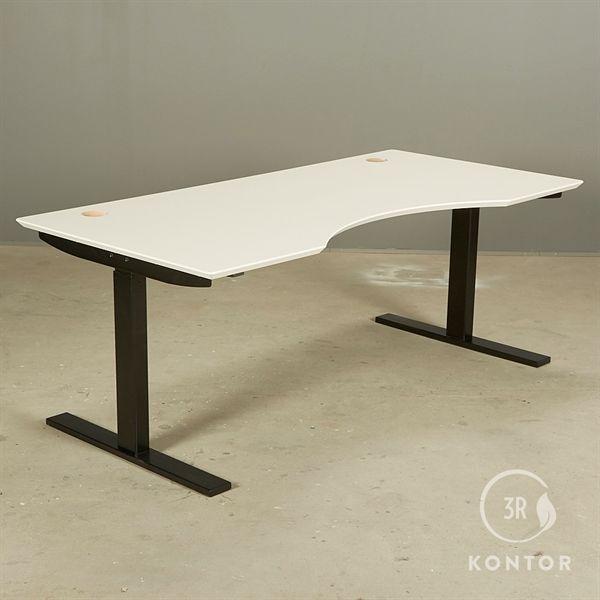 Image of   Hæve sænkebord. Hvid laminat, centerbue, sort stel. 160x80