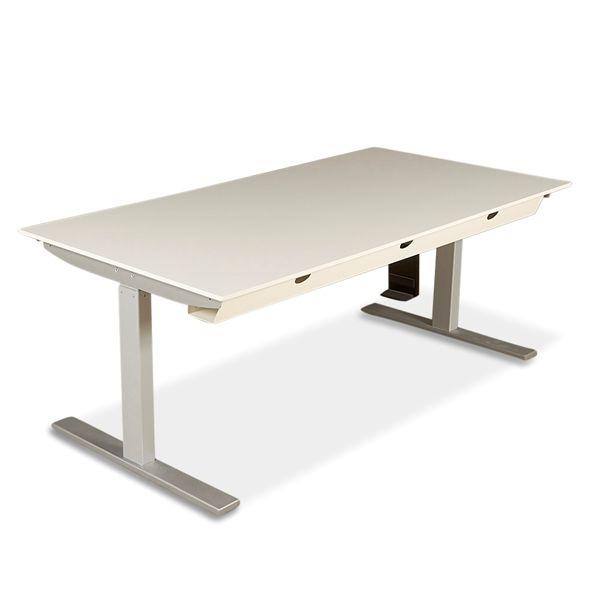 Image of   Hæve sænkebord, hvid på gråt Q20 Linak stel.