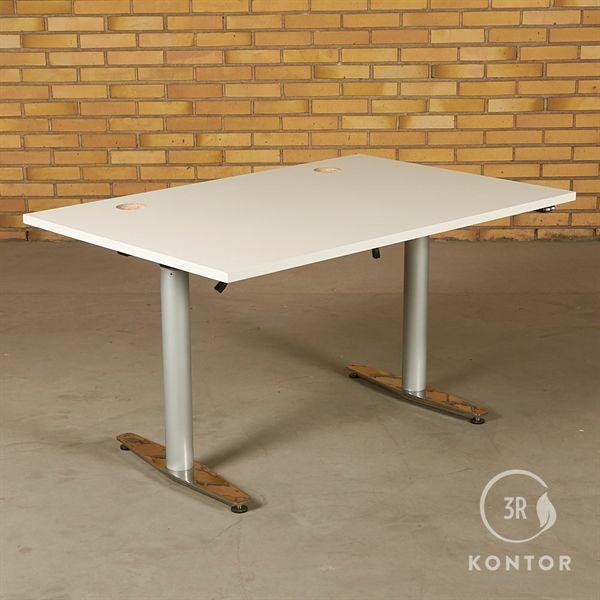 Hæve sænkebord. Hvid på gråt stel. 120x80