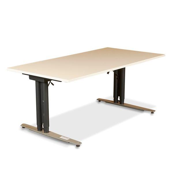 Image of   Hæve sænkebord. Hvid plade, 2 farvet gråt stel. 160x80