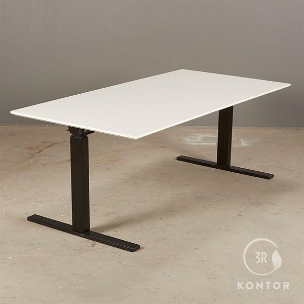 Image of   Hæve sænkebord. Hvid, rektangulær, sort Square stel. 160x80