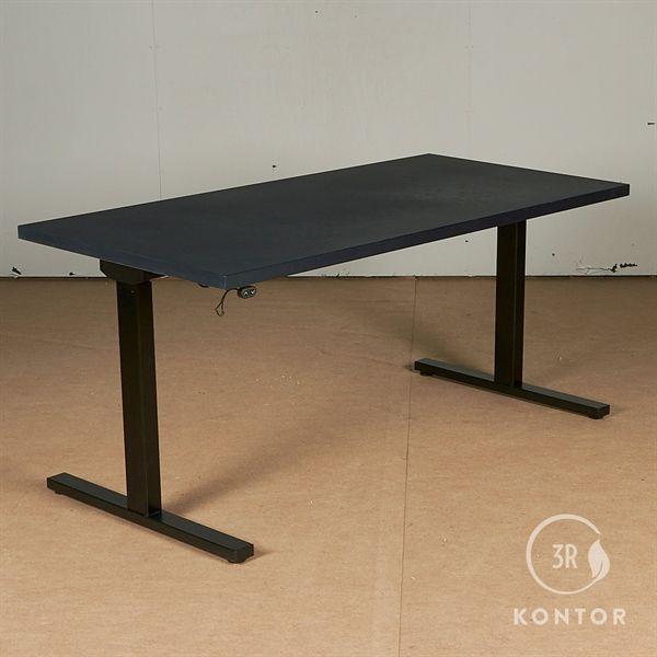 Image of   Hæve sænkebord. Mørkeblå linolum, sort stel. 160x80