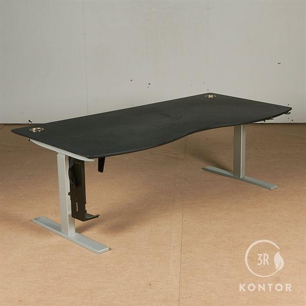 Image of   Hæve sænkebord. Sort, centerbue. Gråt stel. 180x90