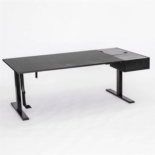 Image of   Hæve sænkebord. Sort med indbygget skuffesystem. 170x90