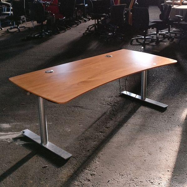 Image of   Hæve sænkebord, mørkt træ, helbue, børstet stel, 180x90