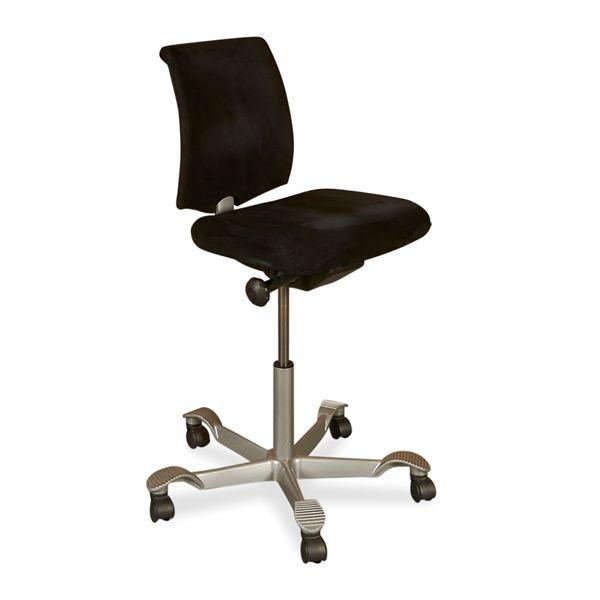 Image of   HÅG H05 kontorstol. Sort stof, plastic ryg.