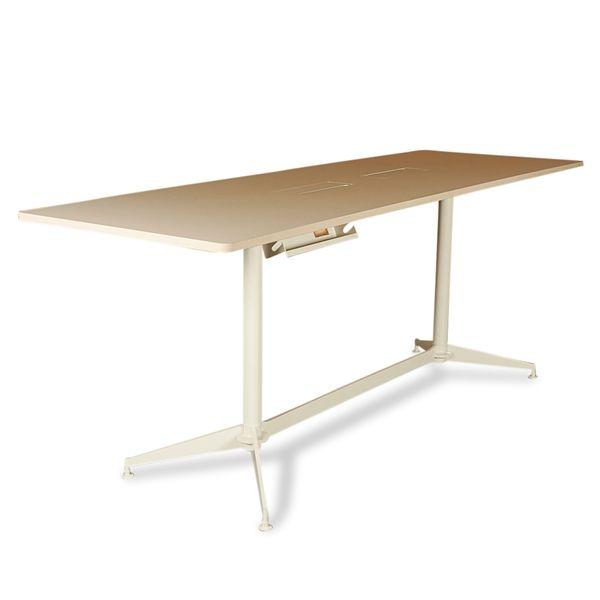 Højt konferencebord. beige linoleum på hvidt stel. 280x90