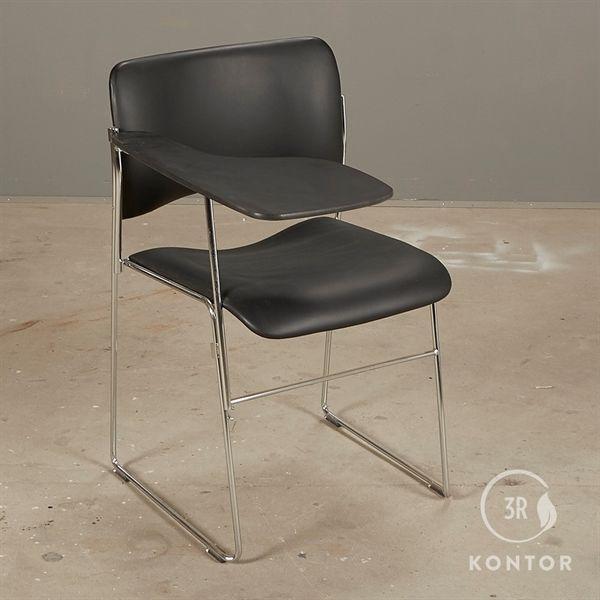 Image of   Howe 40/4 kantinestol med bord. Sort læder. Krom stel.