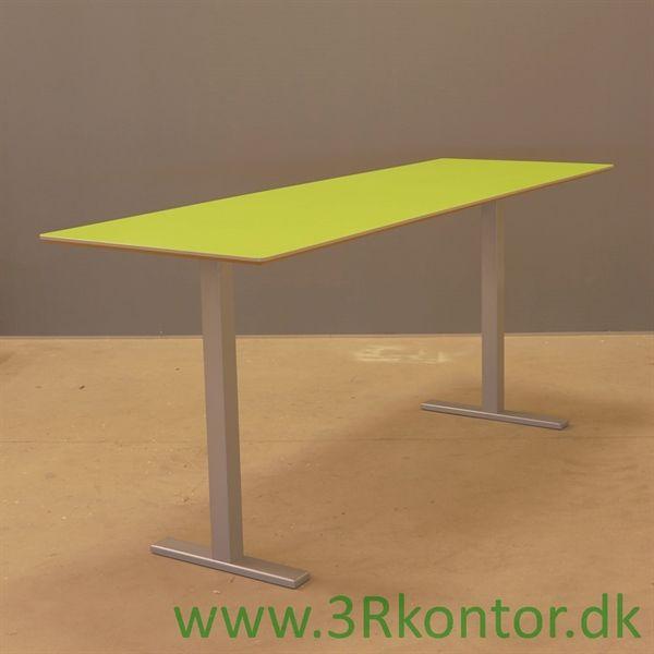 Image of   Café højbord. Grøn laminat, gråt stel. 240x80