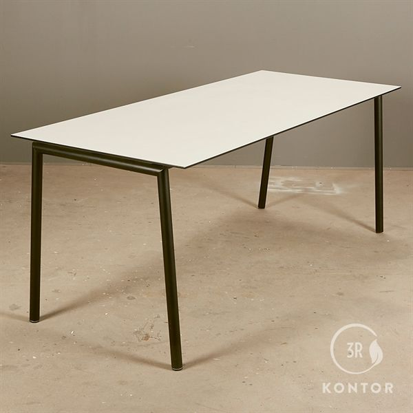 Image of   Kantinebord, hvid laminat, tynd sort kant, sort stel. 180x76