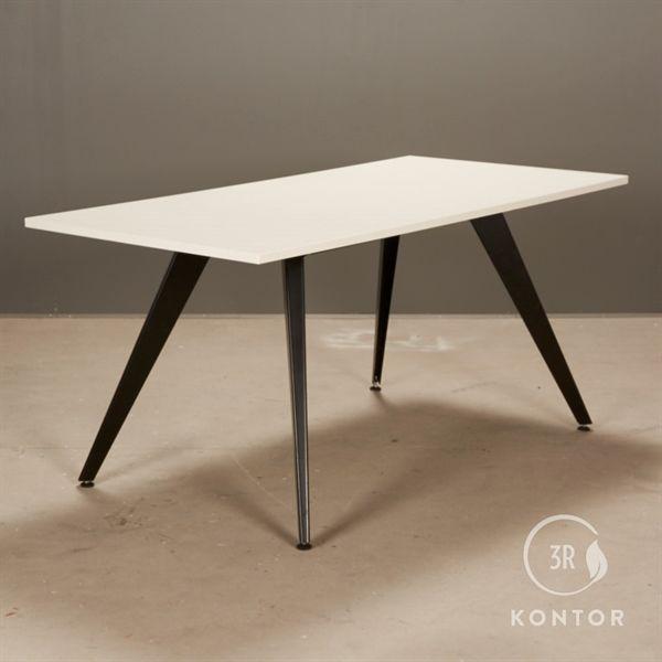 Kantinebord, hvid med sorte skrå ben, 160x80